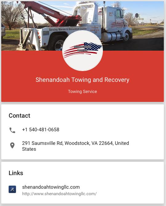 Shenandoah Towing and Roadside Repair located in Woodstock, Virginia 22664