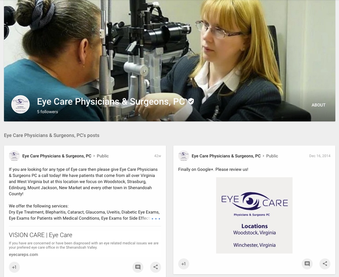 Eye Care Physicians & Surgeons PC located in Woodstock, Virginia 22664 & Winchester, Virginia 22602