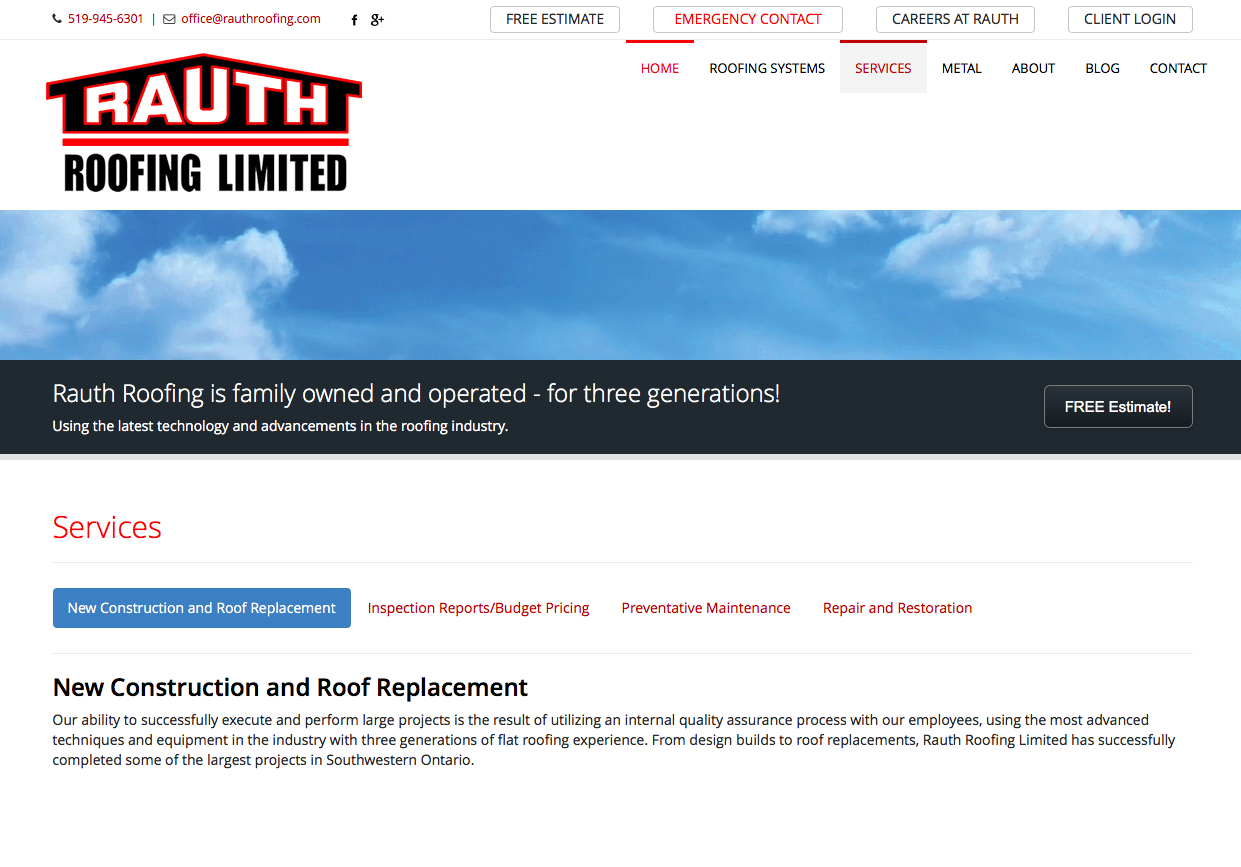 Rauth Roofing Limited located in Windsor